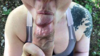 Sexo en el parque rápido con semen caliente en la boca